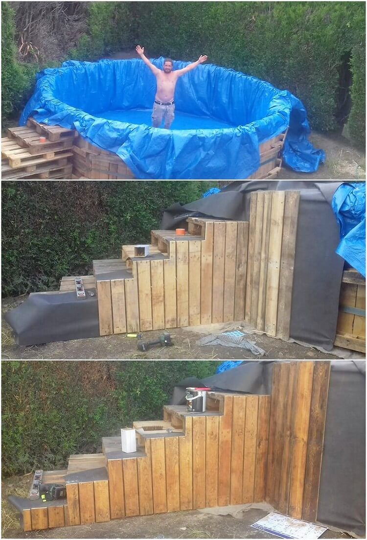 DIY Pallet Swimming Pool with Stairs