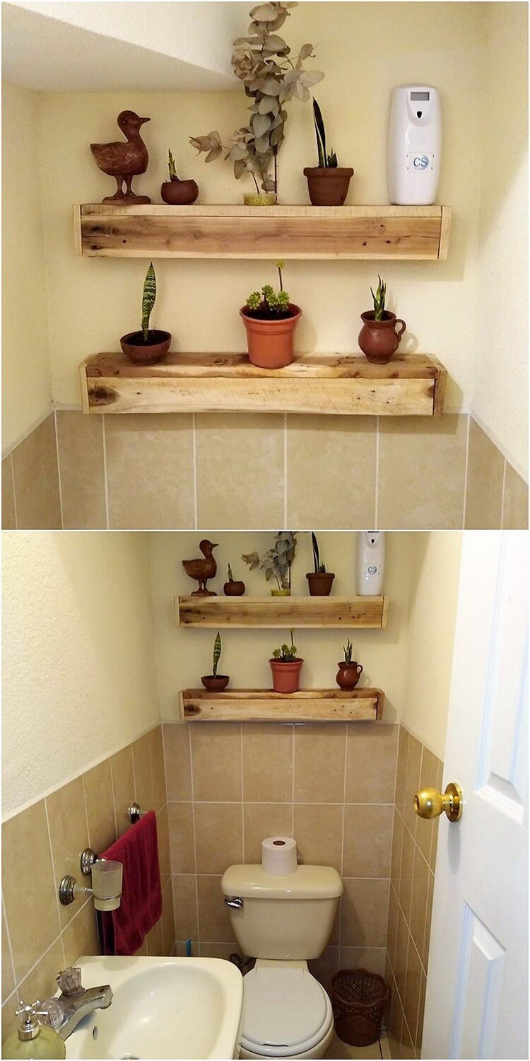 Pallet Bathroom Shelves