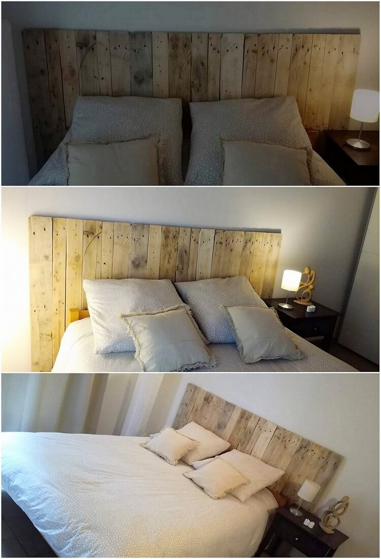 Pallet Bed Headboard with Lights