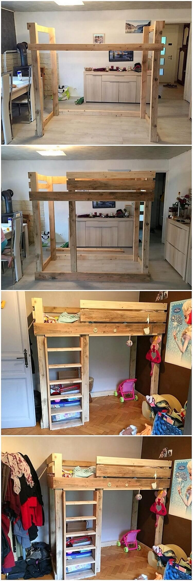Pallet Bunk Bed with Stairs