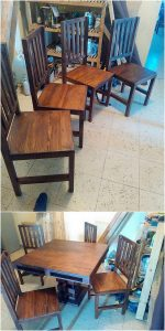 Pallet Chairs and Dining Table