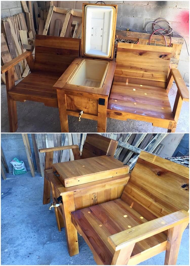 Pallet Chairs with Table or Cooler