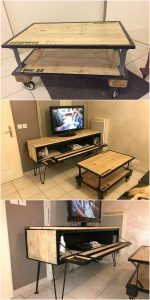 Pallet Coffee Table and Media Table