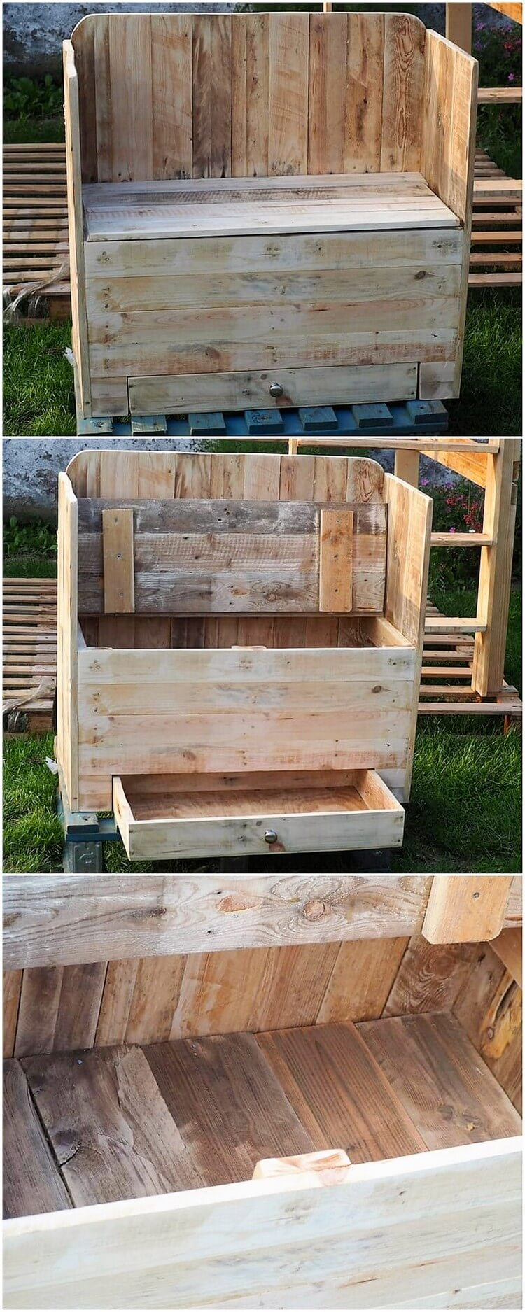 Pallet Seat with Drawers