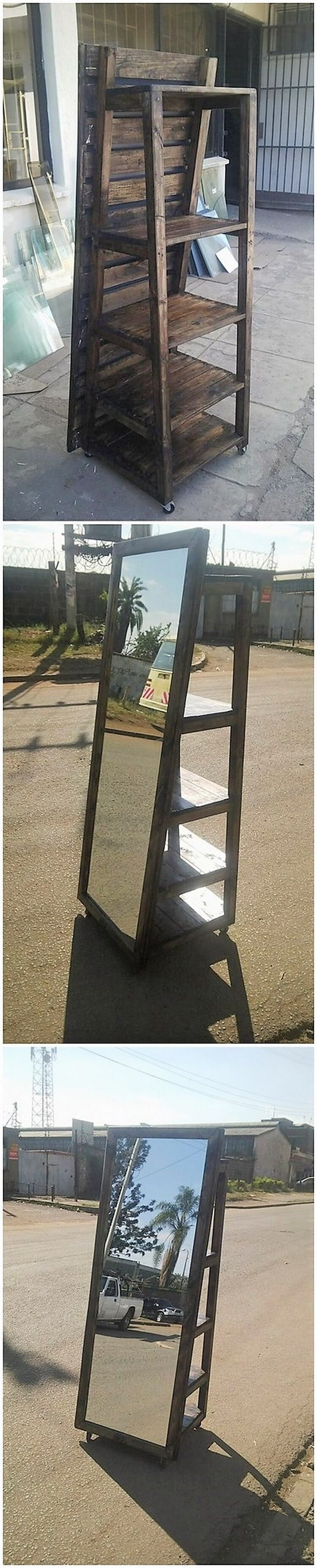 Pallet Shelving Stand with Mirror
