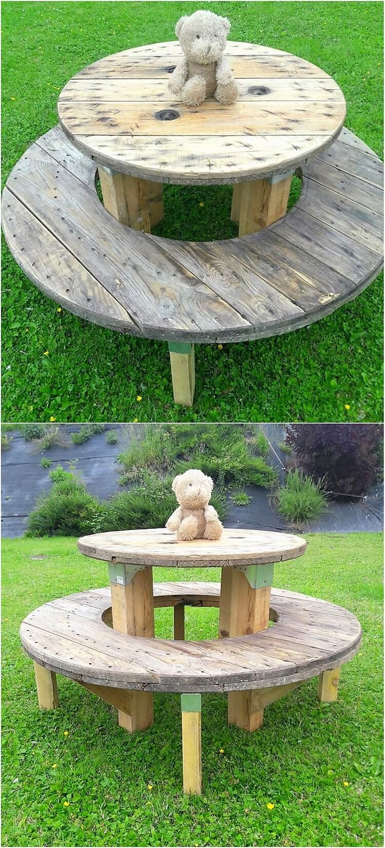 Round Top Table with Bench