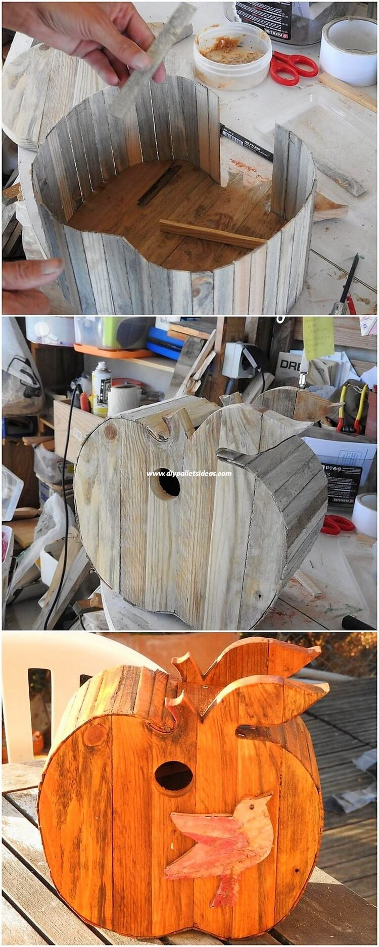 DIY Pallet Apple Shape Birdhouse