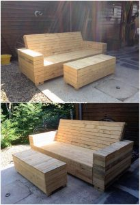 Outdoor Pallet Bench and Table