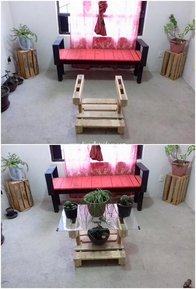 Pallet Bench and Glass Top Table