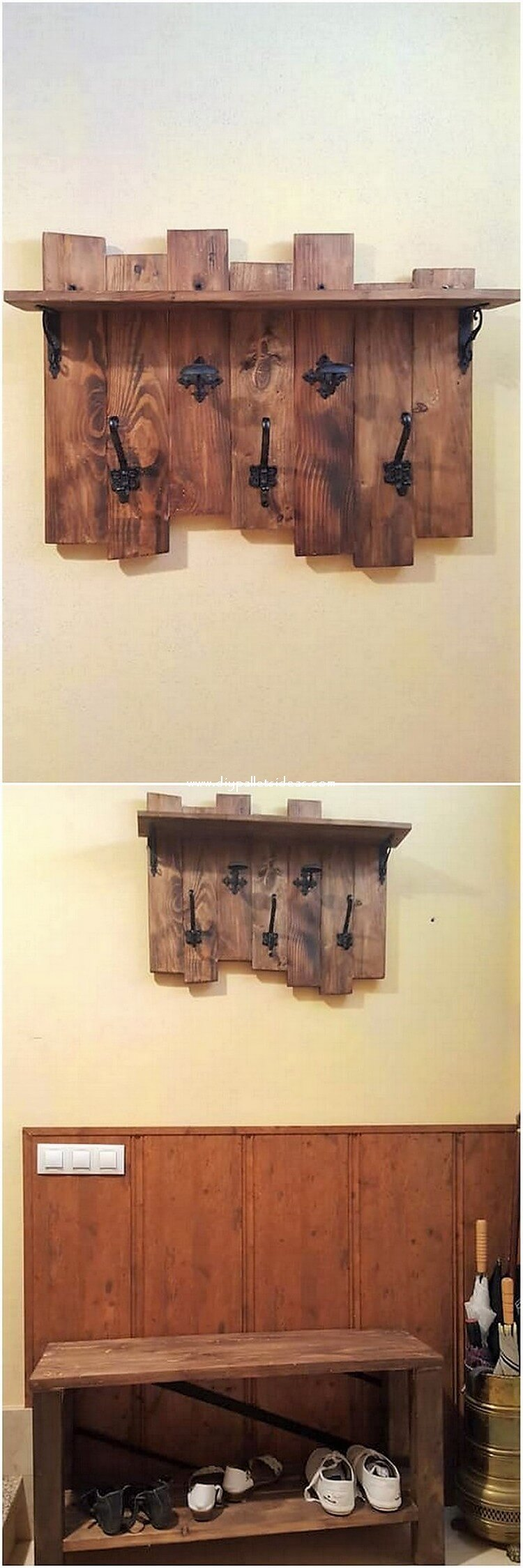 Pallet Coat Rack and Shoe Rack
