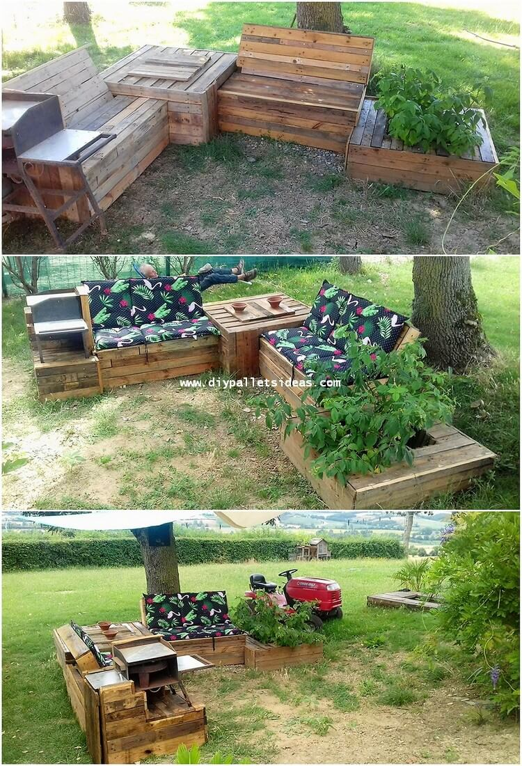 Pallet Garden Furniture with Planter