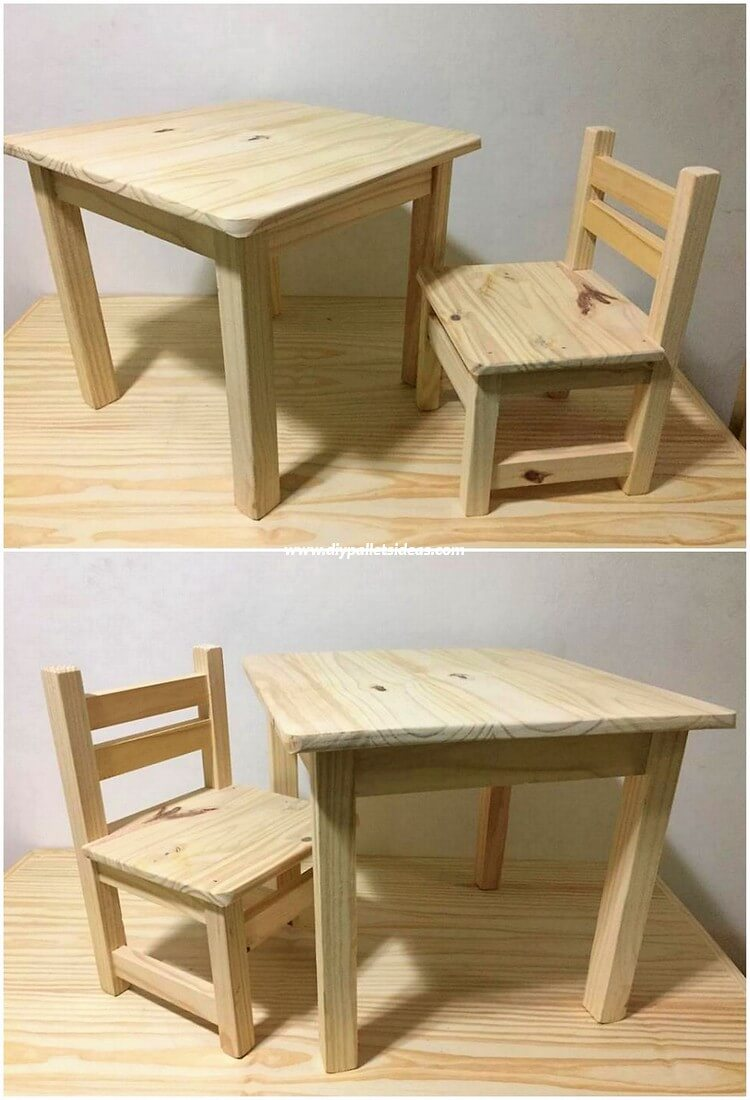 Pallet Kids Chair and Table
