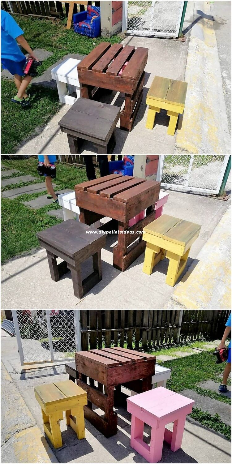 Pallet Table and Stools