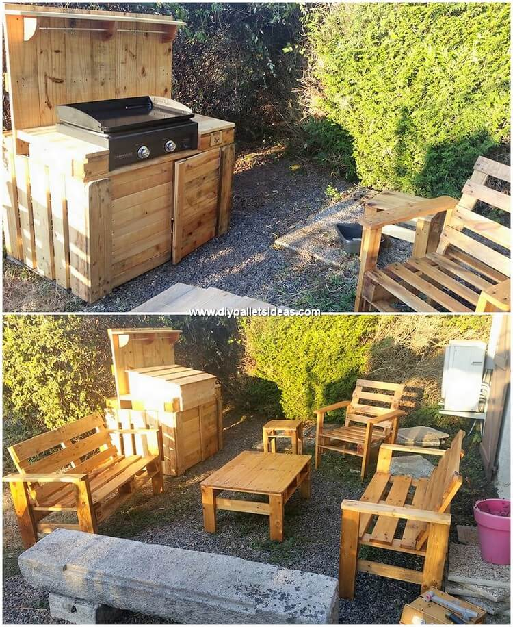 Pallet Outdoor Grill Table and Furniture