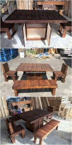 Pallet Table with Cabinet and Chairs