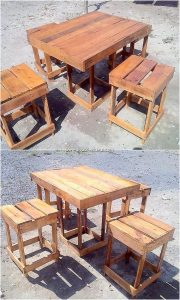 Recycled Pallet Table and Stools