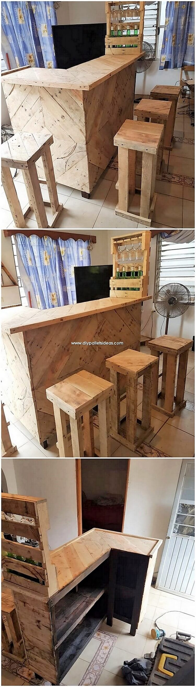 Wooden Pallet Counter Table and Stools