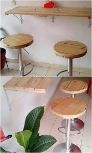 Pallet Desk and Stools