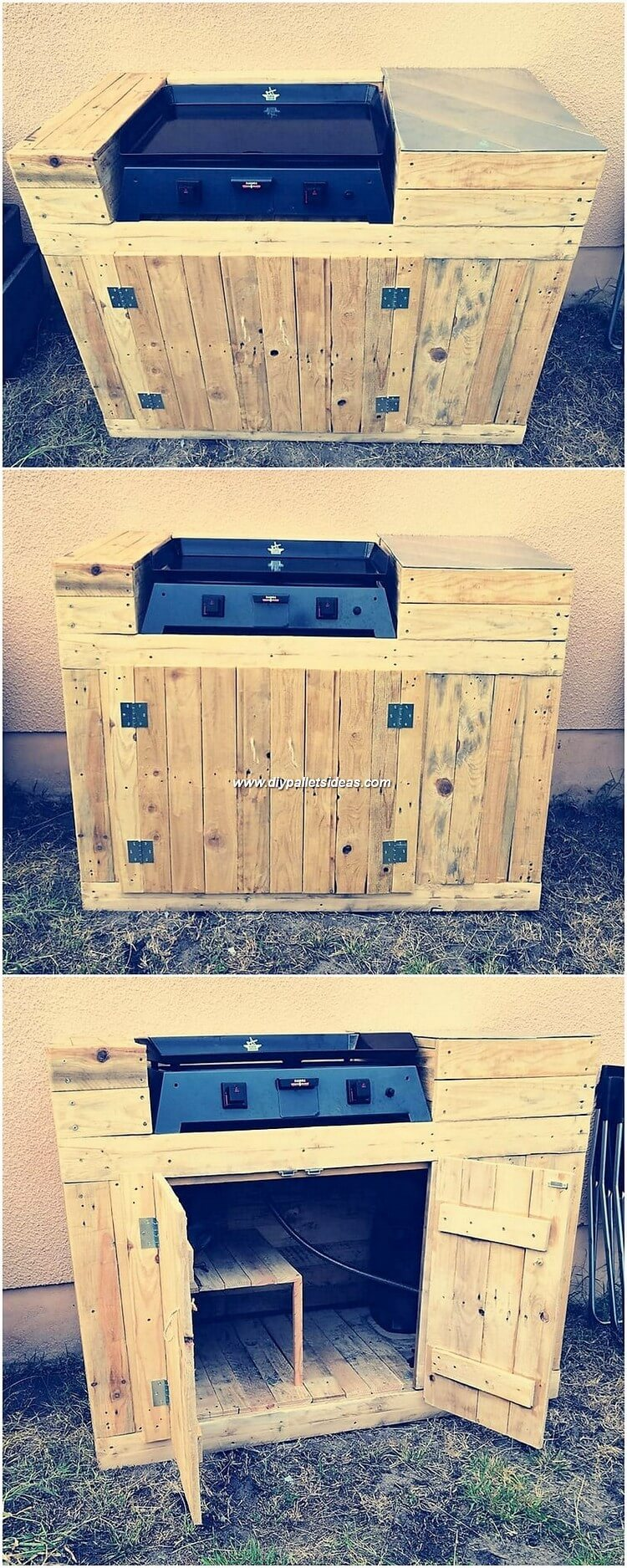 Pallet Grill Table with Cabinet