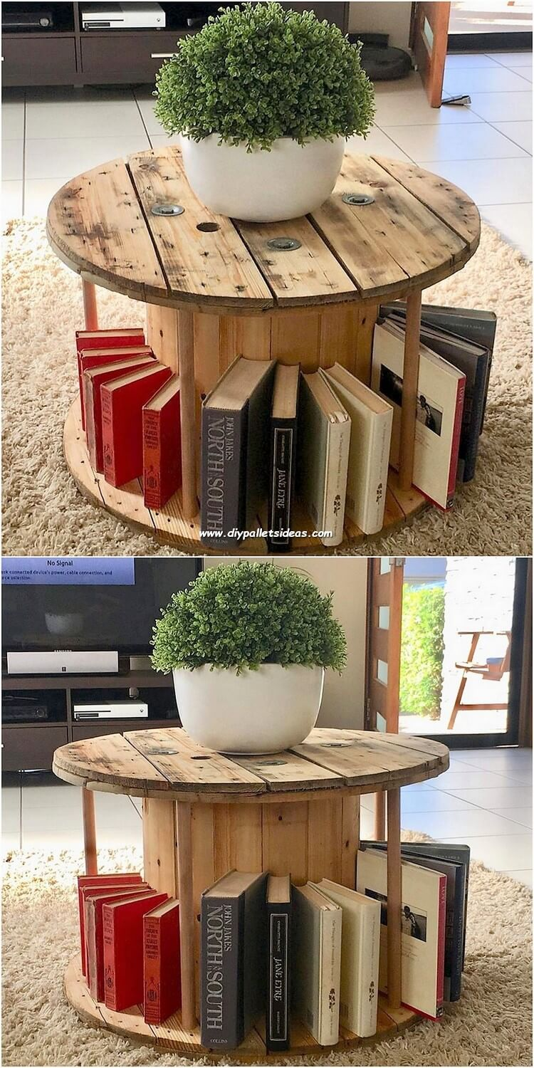 Round Top Pallet Table with Book Storage