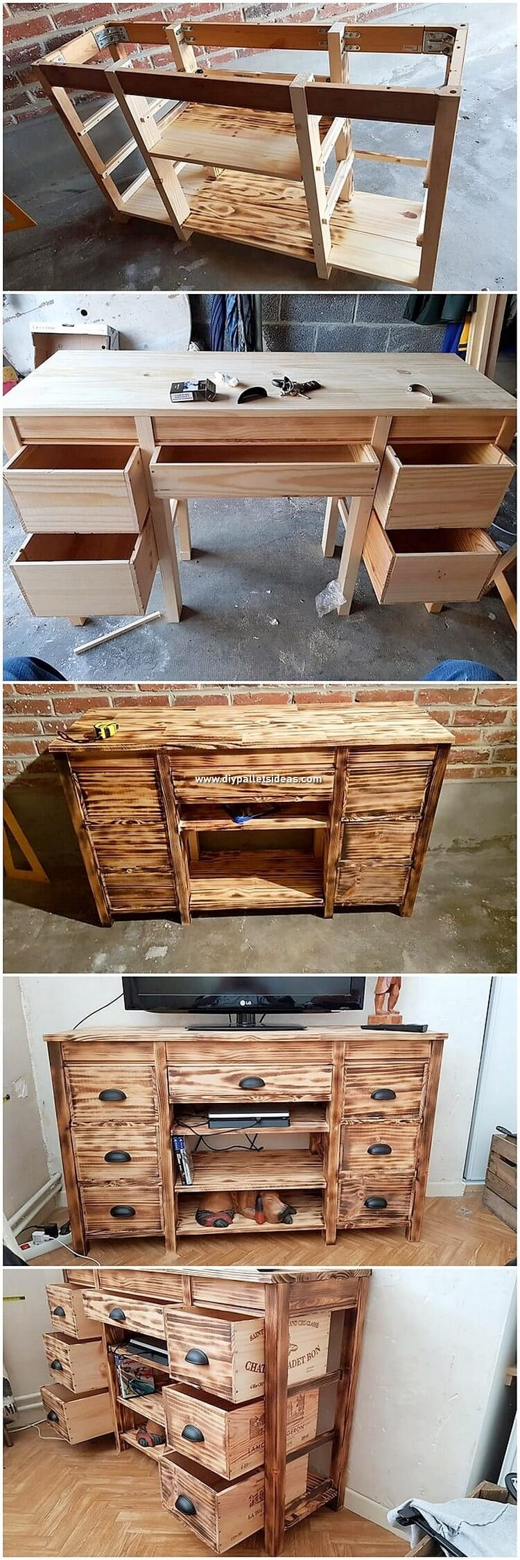 DIY Pallet Media Table with Drawers