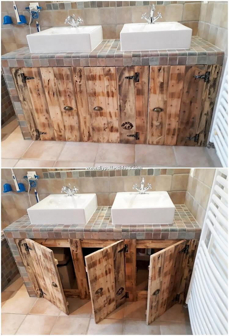 Pallet Bathroom Sink Cabinet