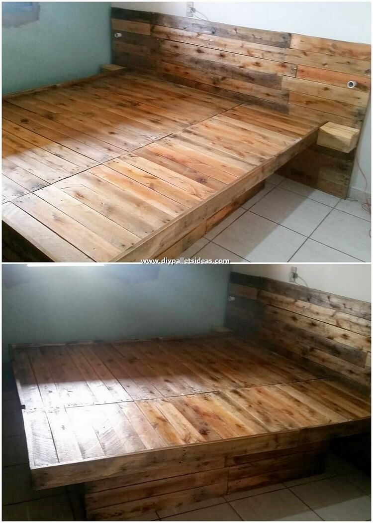 Pallet Bed with Side Tables