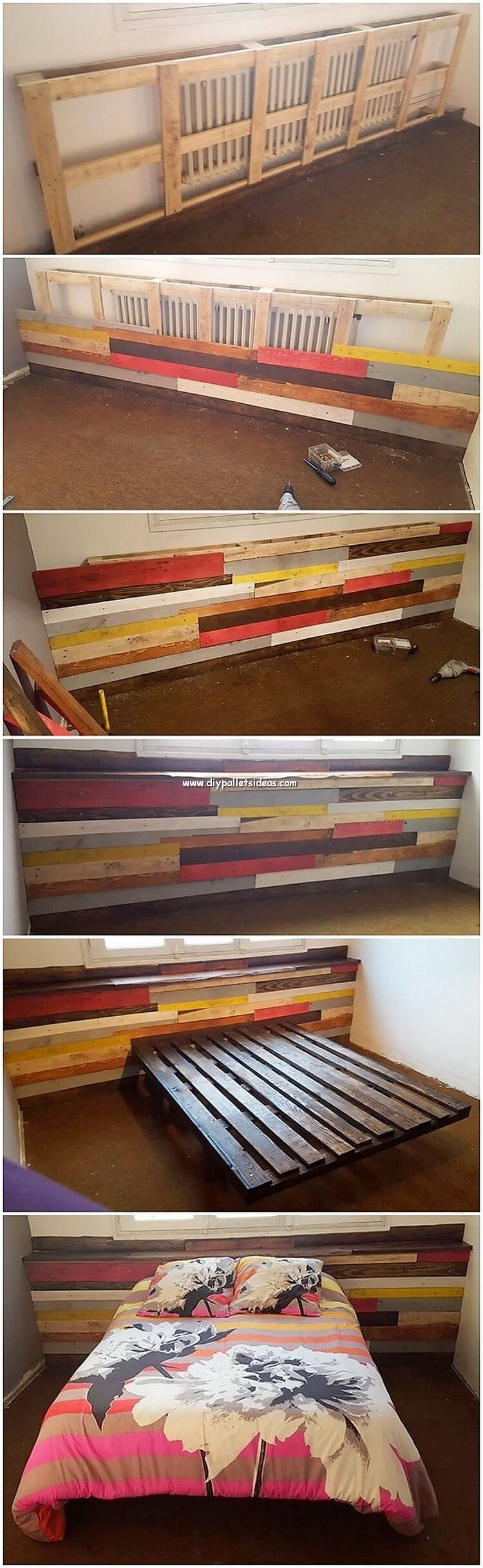 DIY Pallet Wall Bed Headboard