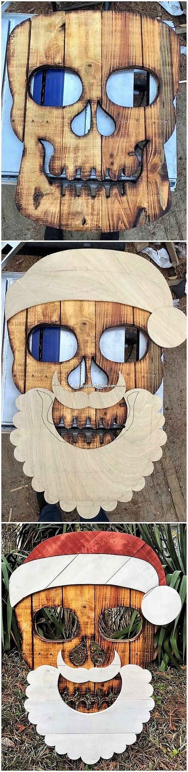 Pallet Christmas Santa Claus Face