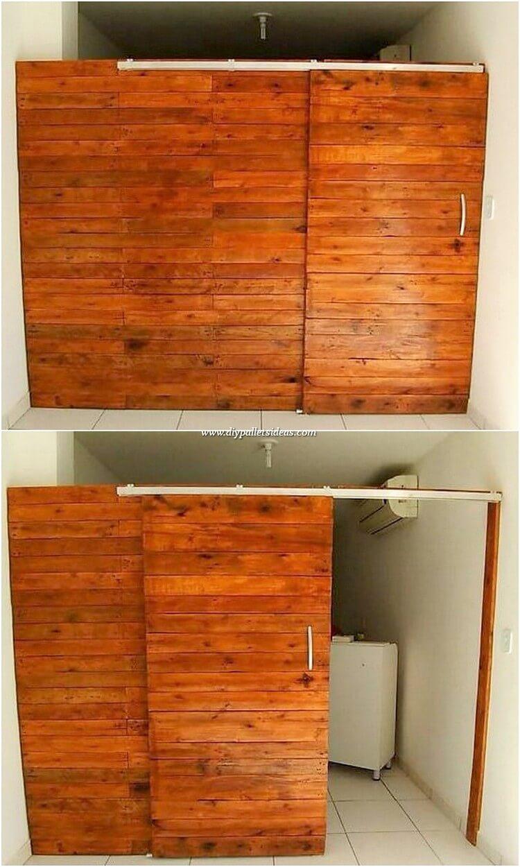 Pallet Room Divider with Sliding Door