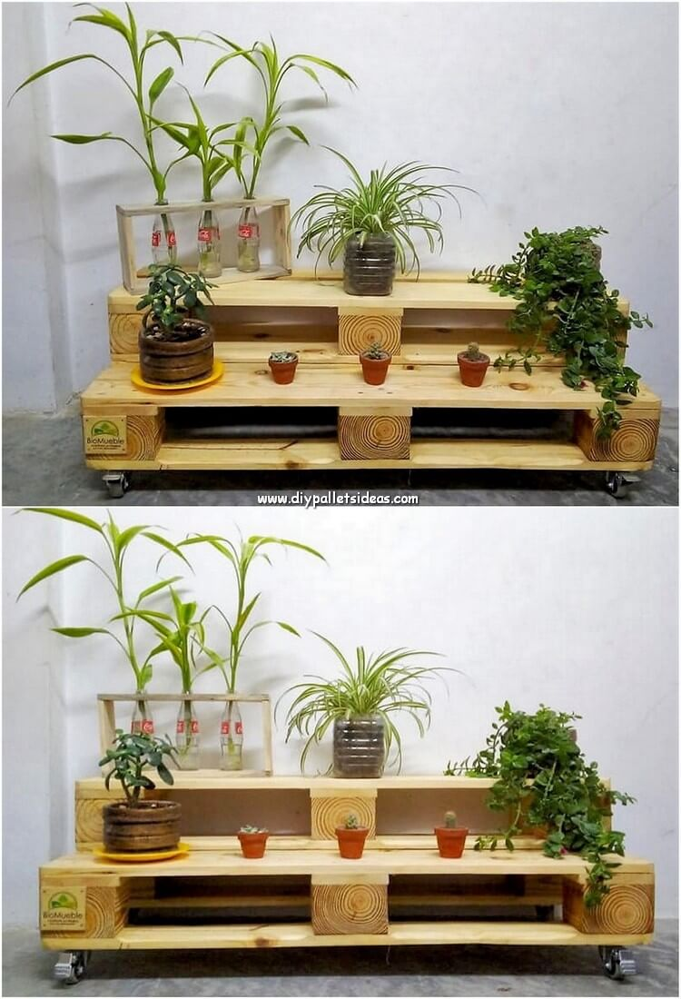 Pallet Stairs Pots Stand