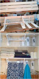 Pallet Bathroom Shelf with Towel Rack