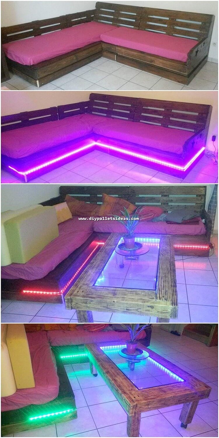 Pallet Couch with Lights and Tabke