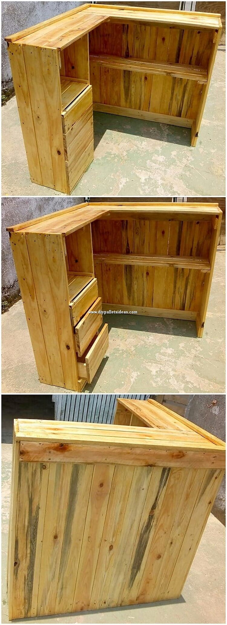 Pallet Counter Table with Drawers
