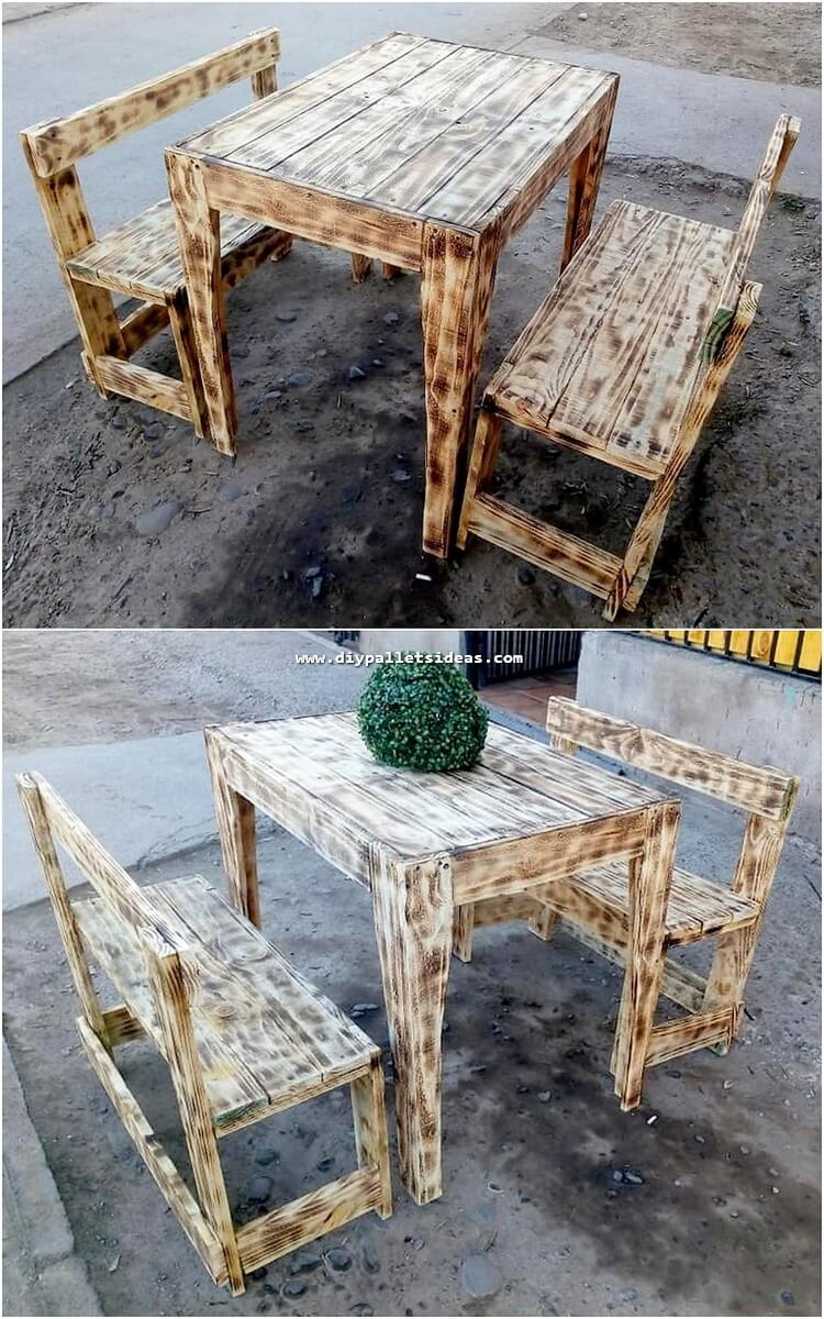 Pallet Outdoor Table and Benches