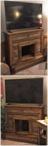 Pallet TV Stand with Fireplace