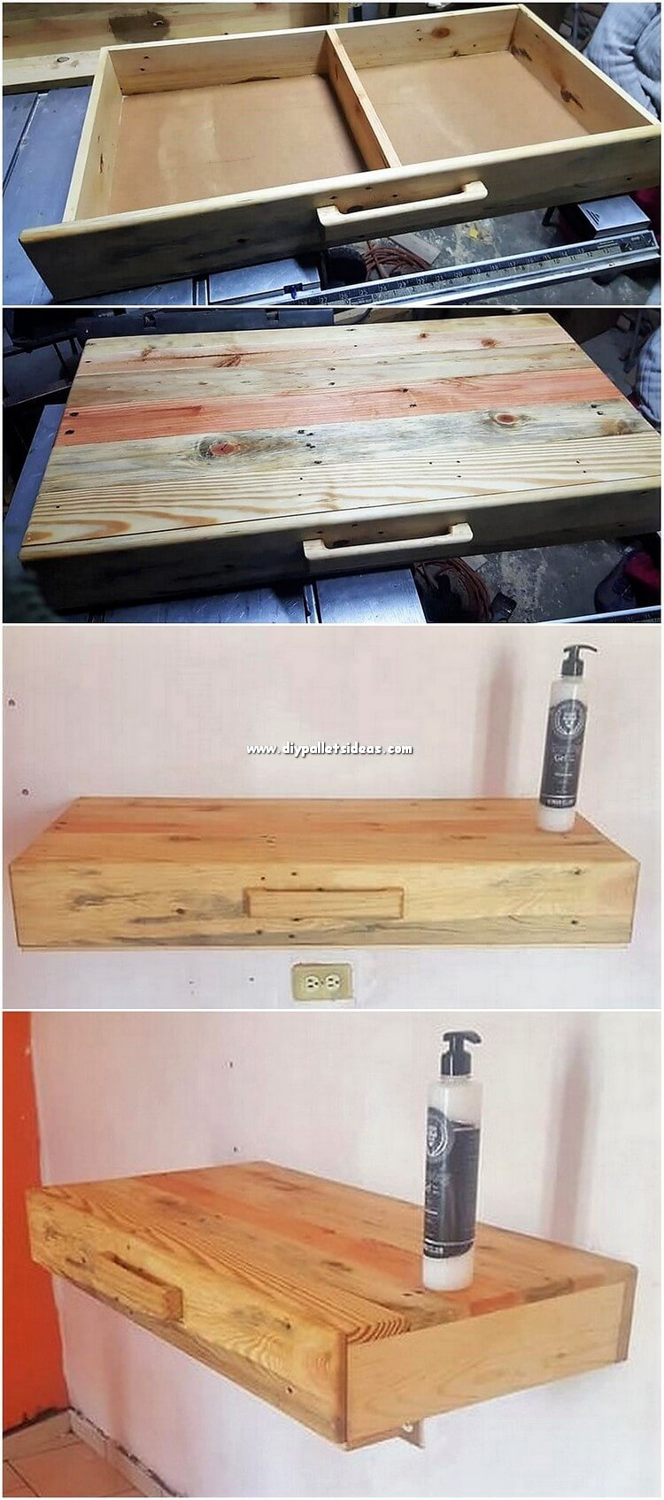 Pallet Wall Shelf with Drawer