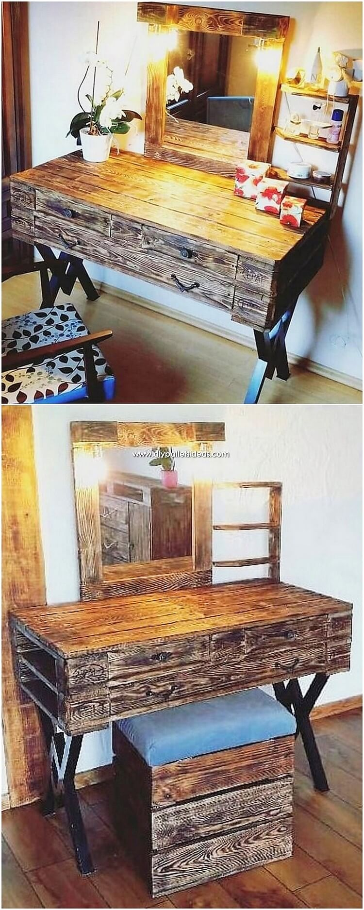Pallet Dressing Table and Stool