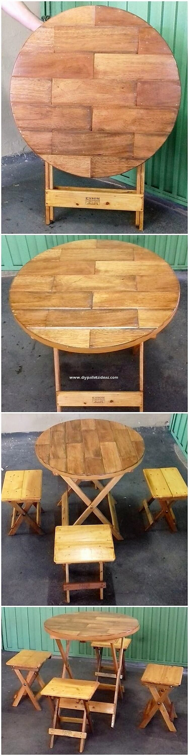 Pallet Folding Table and Stools