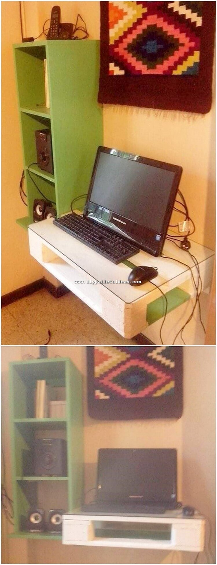 Pallet Laptop Desk Table and Wall Shelving