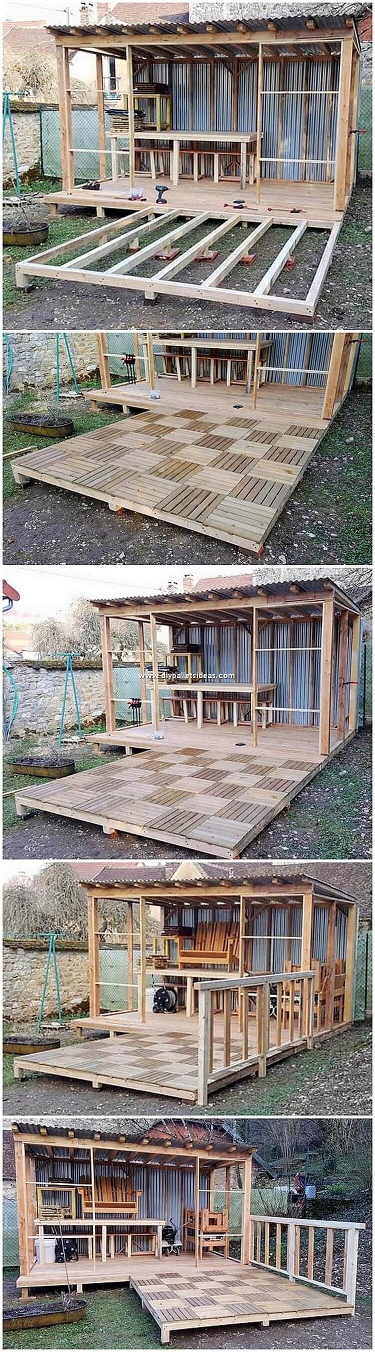 DIY Pallet Garden House with Terrace