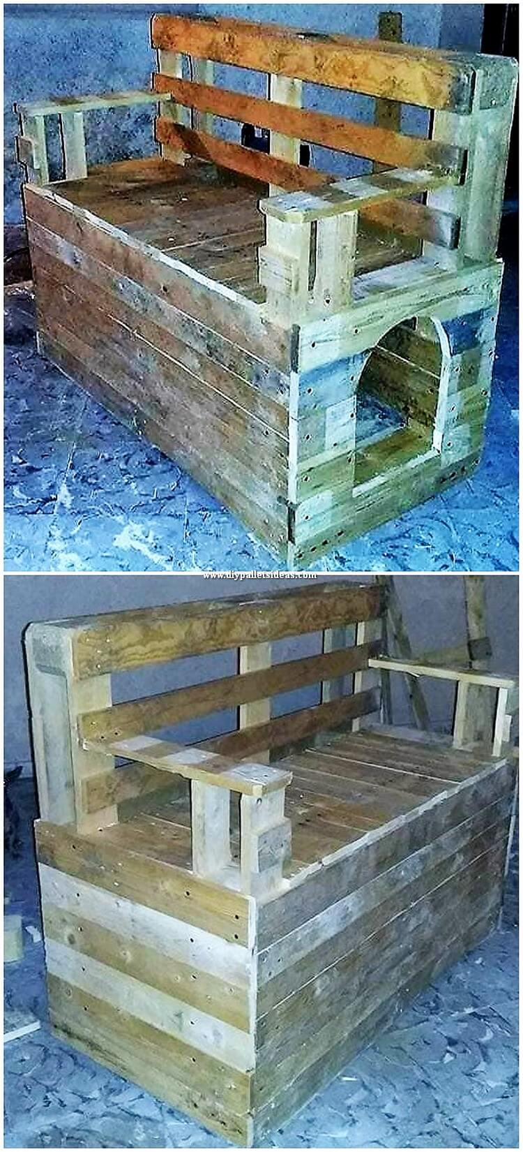 Pallet Bench with Pet House