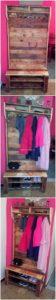 Pallet Closet with Shoe Rack
