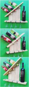 Wood Pallet Wine Rack with Glass Holders