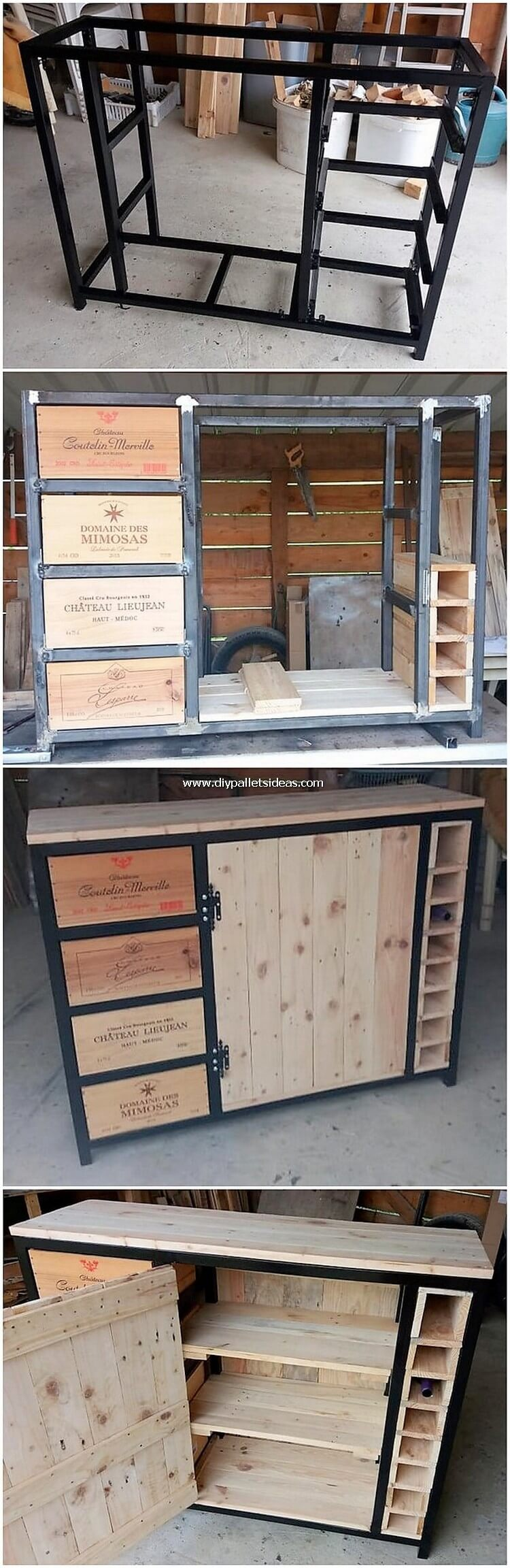 DIY Pallet Cabinet with Drawers