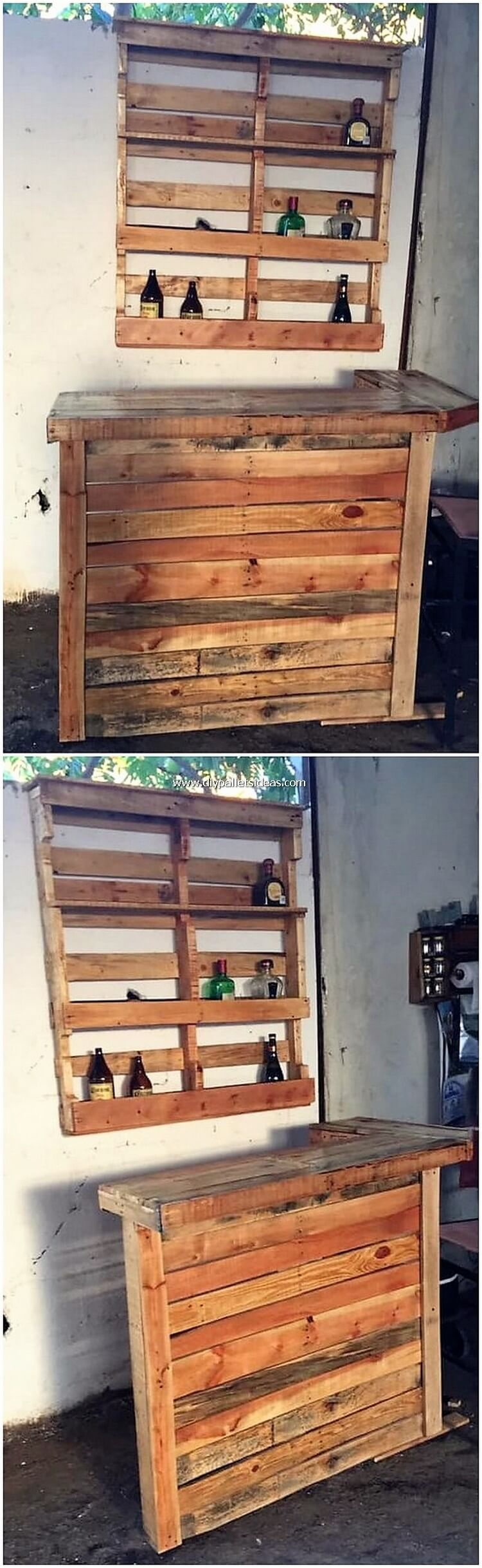 Pallet Bar Counter Table and Wine Rack