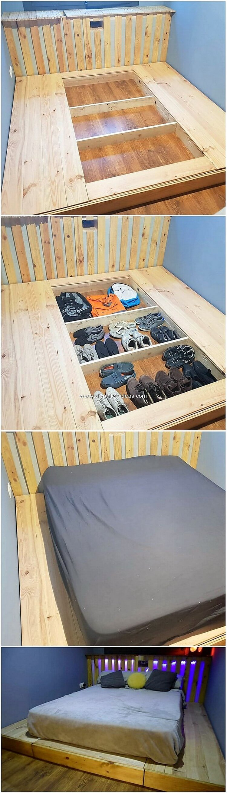 Pallet Bed with Shoe Storage