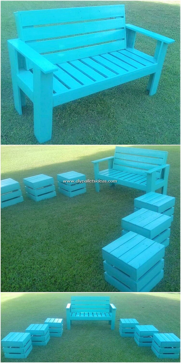 Pallet Garden Bench and Tables or Stools
