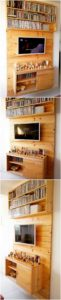 Pallet Wall LED Holder with Cabinet