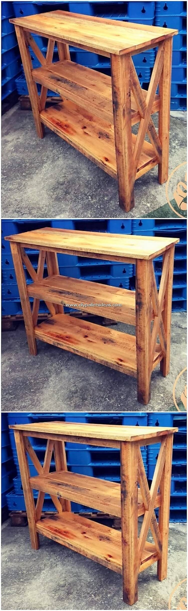 Wood Pallet Shelving Table